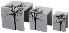 HOMCOM 3er Set Beistelltisch Satztische Couchtisch Holz Tisch lackiert gebogen Satztische Hocker Couchtisch Wohnzimmertisch Holztisch