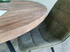Groene Brix | eetkamerstoel | Chair Floyd | Olive | stof | stalen poten