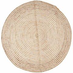 Bruine Xenos Vloerkleed jute - rond - naturel/wit - 120 cm