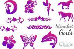 Roze Chloïs Glittertattoo Chloïs Stencilset Girls & A4 poster - Chloïs Cosmetics - Chloïs Glitttattoo - Tattoo stencils - 45 sjablonen - Geschikt voor 60 Tattoos - Nep tattoo - Kinderen