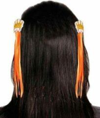 Landen Haarclip Holland oranje met kroon: 2 stuks