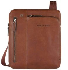 "Bruine Piquadro Black Square Crossbody Bag 9.7"" Tobacco"