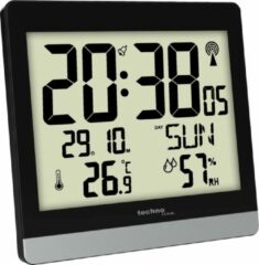 Grijze Radio Control digitale wandklok- WS 8014 met thermometer en hygrometer- Technoline
