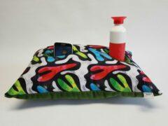 Groene KnusseKusse ® Woonaccessoire | knus kussen | uniek | handgemaakt | insteekvakken en pockets | voor mobiel, afstandbediening, flesje, tijdschrift, bril, zakdoekjes | voor de thuiswerker/-zitter