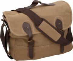 Merkloos / Sans marque Canvas schoudertas donker bruin - Vintage reistassen/weekendtassen/schoudertassen - Tassen voor dames/heren/volwassenen