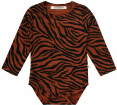 Your Wishes newborn baby romper met zebraprint bruin/zwart