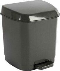Hega hogar Donkergrijze pedaalemmer vuilnisbak/prullenbak 7 liter 21 x 22 x 26 cm - Kunststof/plastic vuilnisemmer- Dameshygiene afvalbak voor toilet/badkamer