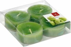 Trend Candles 24x Maxi geurtheelichtjes appel/groen 8 branduren - Geurkaarsen appelgeur - Grote waxinelichtjes