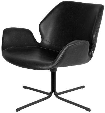 Afbeelding van Zwarte Zuiver Nikki Loungestoel PU-Leer/Hout 75 x 79 cm - Zwart
