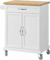 Witte Simpletrade Keukentrolley - Keukenkast - Handdoekenrek - Bamboe - 66x91x46 cm