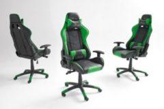 Bürostuhl im Racing Style Kunstlederbezug schwarz/ grün MCA-Furniture mcRacing