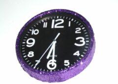 Leerzameklokken.nl Glitter klok Paars/Zwart 30 cm
