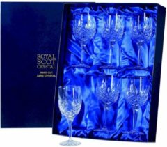 Transparante Royal Scot Crystal London 6 witte wijnglazen - In Presentatieverpakking