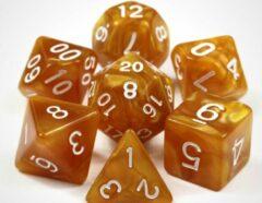 Merkloos / Sans marque KELERINO. Dobbelstenen voor Dungeons & Dragons - Polydice - Marmer - 7 Delige Set - Goud / Wit