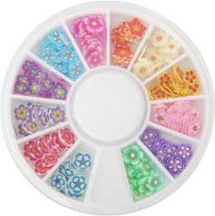 Merkloos / Sans marque FIMO nail art bloemen in carrousel, +/- 150 stuks, flinterdun bloem nail art voor acrylnagels, gelnagels, nagellak, topcoat, UV top coat of gelnagellak / gellak!