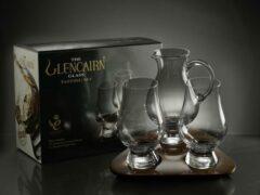 Transparante Glencairn Crystal Studio Glencairn Whisky proeverij | 2 glazen, waterkaraf en dienblad | Kristal | Handgemaakt in Schotland | Geschenkverpakking