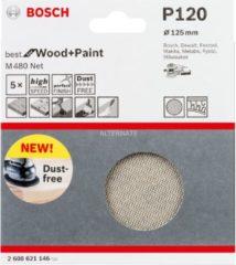 Bosch Schleifblatt M480 Net, Best for Wood and Paint, 125 mm, 120, 5er-Pack VPE: 5