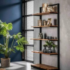 Naturelkleurige Fraaai® wandkast Erwin - wandrek - rek - open kast - industrieel - hout - metaal - 180 cm - met 5 schappen