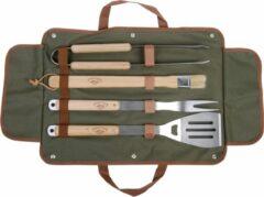 Roestvrijstalen Campingmeister Esschert design BBQ tool set / griltang - grilvork - spatel inclusief flessenopener - BBQ kwast