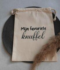 Naturelkleurige Precious beauty and more - Katoenen zak - Bewaarzakje - Mijn favoriete knuffel - Kraamcadeau