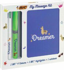 Blauwe Bic Message Kit Dreamer, balpen 4 colours, markeerstift highlighter en notitieboekje ft A6