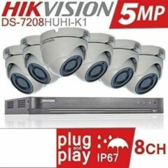 HIKVISION 5MP CCTV BEVEILIGINGSSYSTEEM 4K DVR 8CH H.265 + HIK 5 MP 2.8MM 6X CAMERA'S BUITEN NACHTZICHT KIT DS-7208HUHI-K1 DS-2CE56H1T-ITM - Witte camera - 1TB HDD