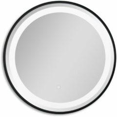 Badstuber Steel mat zwarte ronde spiegel 60cm met LED