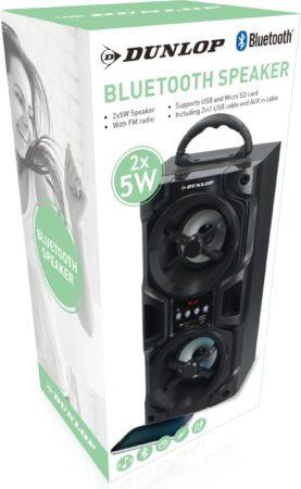 Afbeelding van Zwarte Dunlop Bluetooth Speaker - 2x 5Watt - FM Radio
