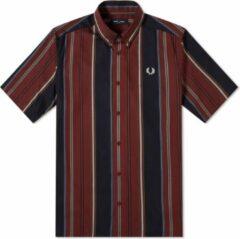 Rode Fred Perry Stripe Shirt Stripe Shirt Heren Overhemd Maat M