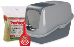 PeeWee EcoHus Startpakket - Kattenbak - Grijs - 56 x 39 x 38.5 cm