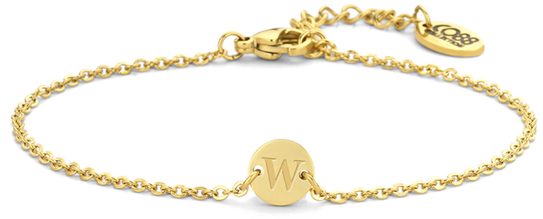 Afbeelding van CO88 Collection Alphabet 8CB 90637 Stalen schakel armband - 1,5 mm - bedel rond met letter W - 7mm - 19,5 cm - goudkleurig