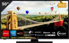 Zwarte Hitachi 50HAK6150 UHD Android 50 inch Smart TV met ingebouwde Chromecast