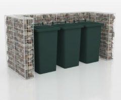 Zilveren VidaXL Schanskorf drievoudige vuilnisbak ombouw staal 250x100x120 cm