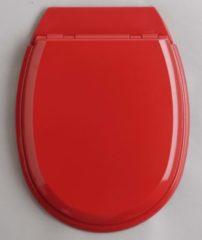 Rode Allibert wc-bril ATLAS - geperst hout - afklikbaar - met regelplaat - rood gelakt