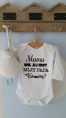 Witte Maison Marcella Rompertje Mama wil jij met mijn papa trouwen?   Lange mouw   wit   maat 50-56