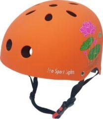 Kinderfietshelm Pro Sport Lights - skate Fietshelm voor kinderen - Oranje - bloemen - flowers - kinderhelm 50 - 56 cm