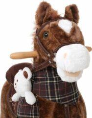 Bruine Merkloos / Sans marque Hobbelpaard, schommelpaard met stijgbeugels, zadel en geluidsfunctie en teddy