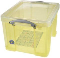 Really Useful Boxes RUB gekleurde transparante opbergdoos 35 l geel