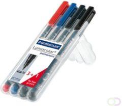 Staedtler Lumocolor permanent M DRY SAFE 317 WP4 Permanent marker Rood, Blauw, Groen, Zwart Watervast: Ja