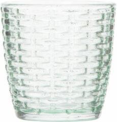 Cosy and Trendy Theelichthouders/waxinelichthouders Glas Mintgroen 9 X 9 Cm Steentjes Motief - Windlichtjes/kaarsenhouders
