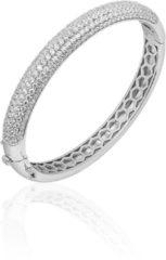 Jewels Inc. - Armband - Bangle Half Bol gezet met Zirkonia - 8mm Breed - Maat 68 - Gerhodineerd Zilver 925