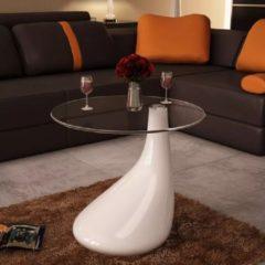 VidaXL Salontafel met rond glazen tafelblad hoogglans wit