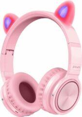 Lovnix Lucky Cat - Draadloze Bluetooth Kinderkoptelefoon - Over-Ear Koptelefoon voor Kinderen - Met Led Kat Oortjes - Roze