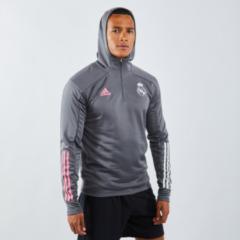Donkergrijze Adidas real madrid trainingstop met capuchon 20/21 grijs heren