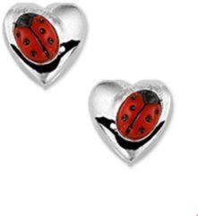 Rode Huiscollectie TFT Oorknoppen Hart Lieveheersbeestje Zilver Glanzend 3 mm x 4 mm