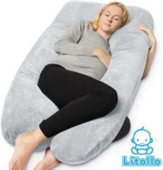 Litollo® Zwangerschapskussen XXL | Voedingskussen | Lichaamskussen| 280cm | Zachte fleece stof |Body pillow | Afneembare hoes |Luxe opbergtas | Grijs