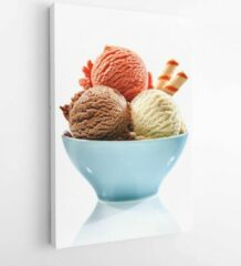 Onlinecanvas Trio of tasty chocolate vanilla and strawberry flavored frozen dessert in a blue bowl with two wafer straws - Modern Art Canvas -Vertical - 393863953 - 80*60 Vertical
