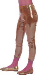 Feestbeest.nl Feestkleding Legging pailletten goud meisje Maat 164