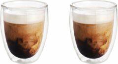 Transparante Merkloos / Sans marque 2x Dubbelwandige koffiekopjes/theeglazen 250 ml - Koken en tafelen - Barista - Koffiekoppen/koffiemokken - Dubbelwandige glazen