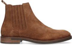 Manfield - Heren - Suède cognac chelsea boots - Maat 43